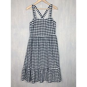 Loft gingham cross back midi dress 8 black white